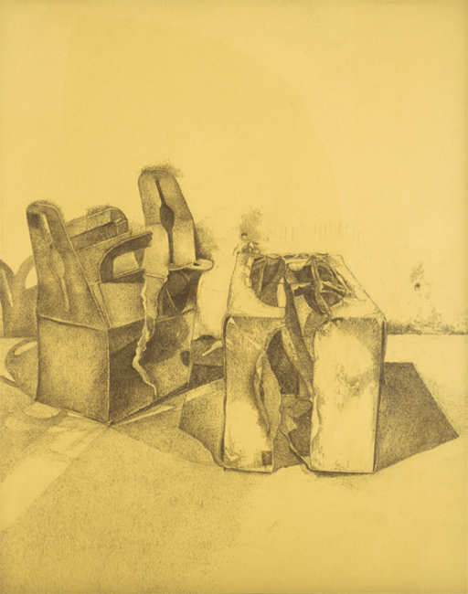 Boxes, willow charcoal on yellow paper, 21 x 17 inches, 2003.