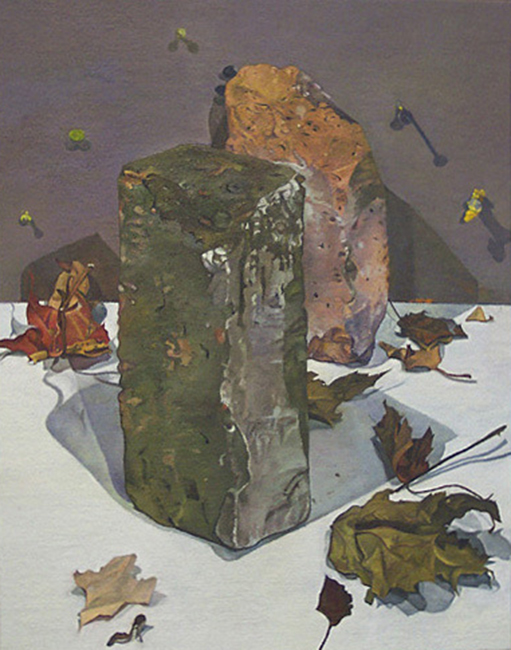 Bricks, oil on linen mounted on plywood panel, 18 x 14 inches, 2004. Collection of Will Santore.