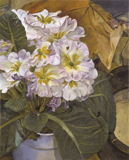 Primroses, oil on linen mounted on wood panel, 10 x 8 inches, 2006.