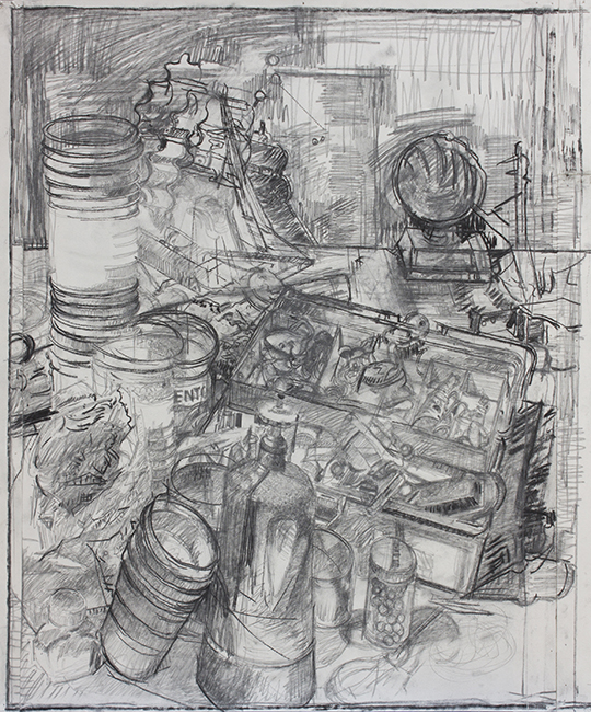 Study for Garden, pencil and charcoal on paper, 22.75 x 19.5 inches, 2007.