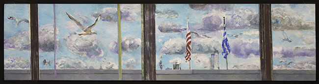 Clouds - Gulls - Flags, watercolor and gouache on watercolor paper, 3 3/4 x 15 inches, 2012-14