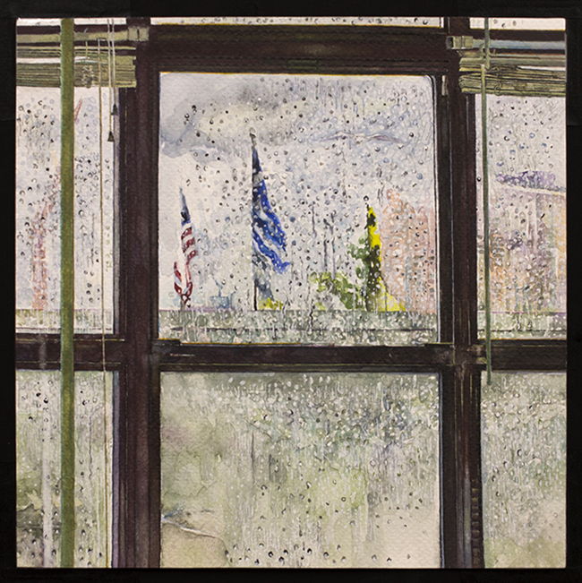 Rain on Window, watercolor and gouache on watercolor paper, 7 7/8 x 7 7/8 inches, 2012-15
