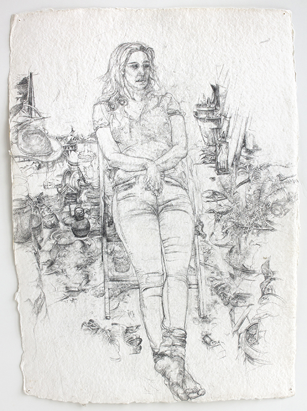 Rosie Sitting, pencil on watercolor paper, 17.5 x 12.5 inches, 2015-16