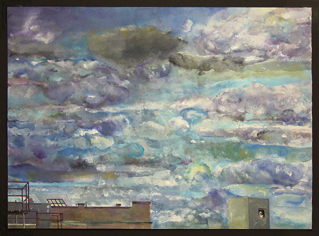 Stormy Sky, watercolor and gouache on watercolor paper, 17 x 12 3/4 inches, 2012-13