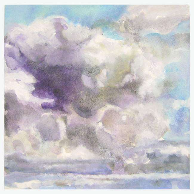 Clouds V, watercolor and gouache on watercolor paper, 7 7/8 x 7 7/8 inches, 2012