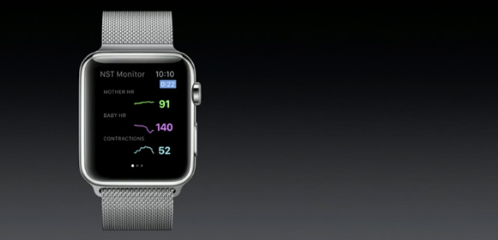 App on watch showing heartbeat of mother and child