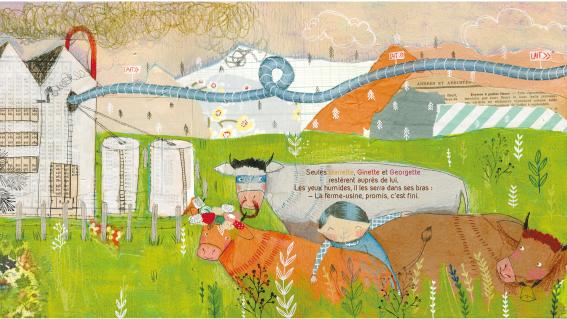 1000 vaches publié aux éditions Père Fouettard un album jeunesse drole et poétique qui aborde la surproduction.