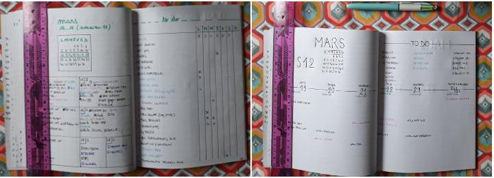 tests de présentation de planning hebdo pour mon bullet journal