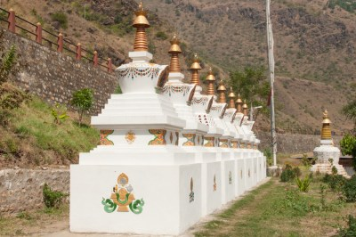 Bhutan - Chortens at Gom Kora temple.