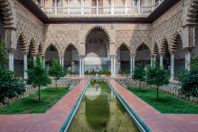 Andalusia - Seville. Alcazar Courtyard of the Maiden,