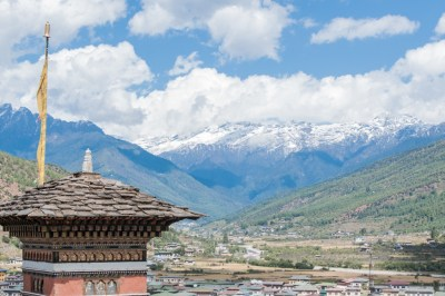Paro sits in a deep Himalayan Valley.