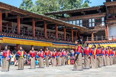 Bhutan - Women dances at Wangdi Festival.