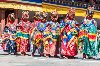 Bhutan - Entrance of cham dancers at Wangdi Dzong.