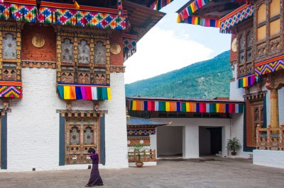 The Punakha Dzong decorated for the royal wedding.