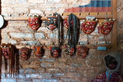 Bhutan - Mask disply in Tang Valley.