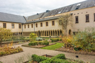 The cloister surrounds a garden of medicinal plants.