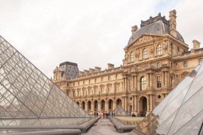 The New Louvre -  Pavillon Richelieu and the I.M. Pei Pyramid.
