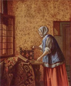 Pieter de Hooch, Woman Weighing Gold Coins. Oil on canvas. 61 x 53 cm. (24 x 20.8 in.), Berlin, Staatliche Museen zu Berlin, Preußischer Kulturbesitz.