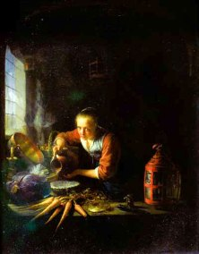 Gerard Dou, The Kitchen Maid. Oil on wood panel. 36 x 27,4 cm. (14.1 x 10.8 in.) Paris, Musée du Louvre.