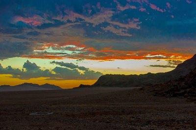 Dusk over the Namib Desert.