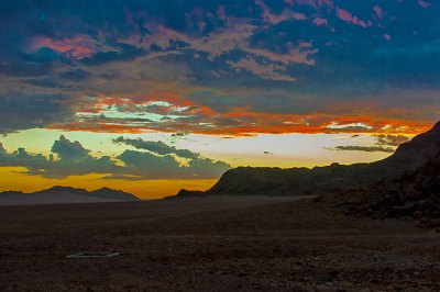 Dusk over the Namib Desert.