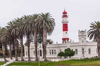Build in 1902 and located off the coast at the edge of the Public Garden, the Swakopmund lighthouse is still used today.