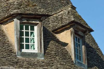 A fine exemple of medieval stone roof (or lauze)  in Sarlat.