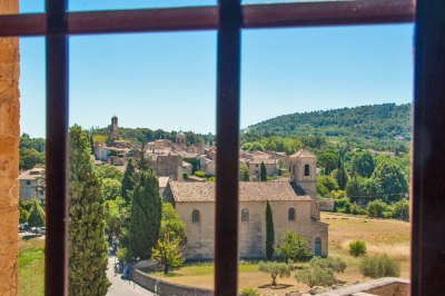 The historic village of Lourmarin, seen from the Renaissance wing of the Chateau.