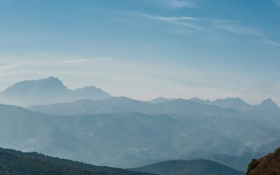 Cap Corse mountain range in the morning mist.