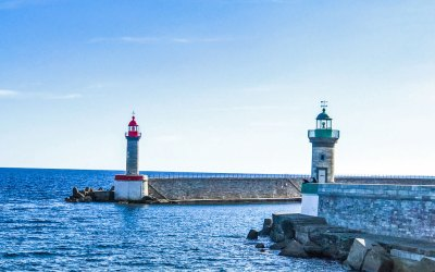 Twin lighthouses mark the entrance of the Old Port of Bastia.