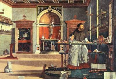 St. Augustine in His Study. Detail of the Scuola de San Giorgio Degli Schiavoni cycle of frescoes by Vittore Carpaccio.