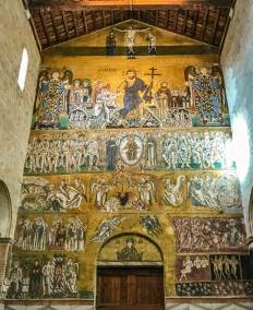 Golden 12th century mosaic of the Last Judgement at the Basilica di Santa Maria dell'Assunta, Torcello.