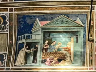 The birth of Mary.