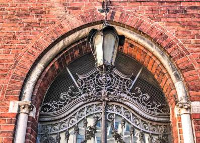 Detail of a Medieval wrought-iron gate of the cloister adjoining the cathedral.