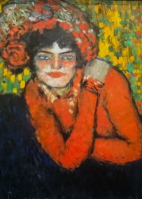 """Pierreuse - with hand on her shoulder."" Pablo Picasso, 1901 (Museu Picasso, Barcelona, Spain)."