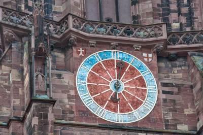 Freiburg-im-Breisgau - Architectural details: The Minster Zodiac Clock.