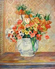 Still life: Flowers, Pierre Auguste Renoir, 1885. Impressionist oil on canvas. (Guggenheim Museum, New York, Thannhauser Collection).