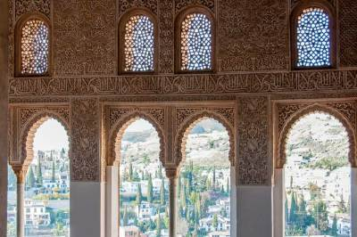 Views of Granada through  the Generalife gallery.