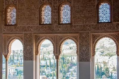 Views of Granada through  the Generalife gallery.
