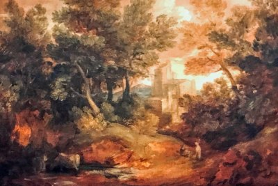 Wooded landscape with barn (1771.Thomas Gainsborough, oil on canvas).
