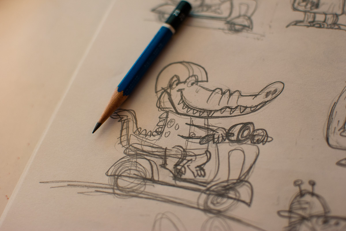 Animals driving scooters sketch 2