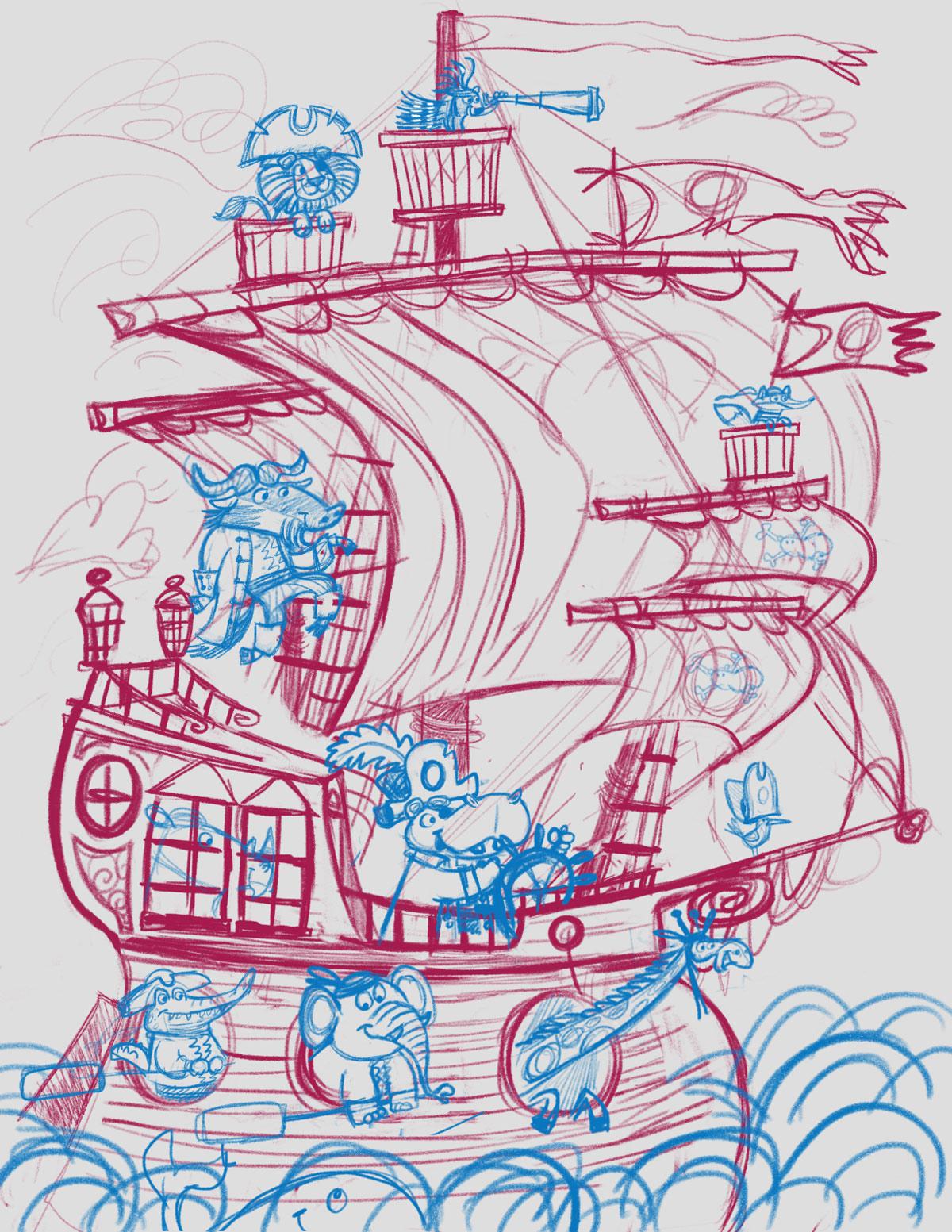 Animal Pirate Ship sketch