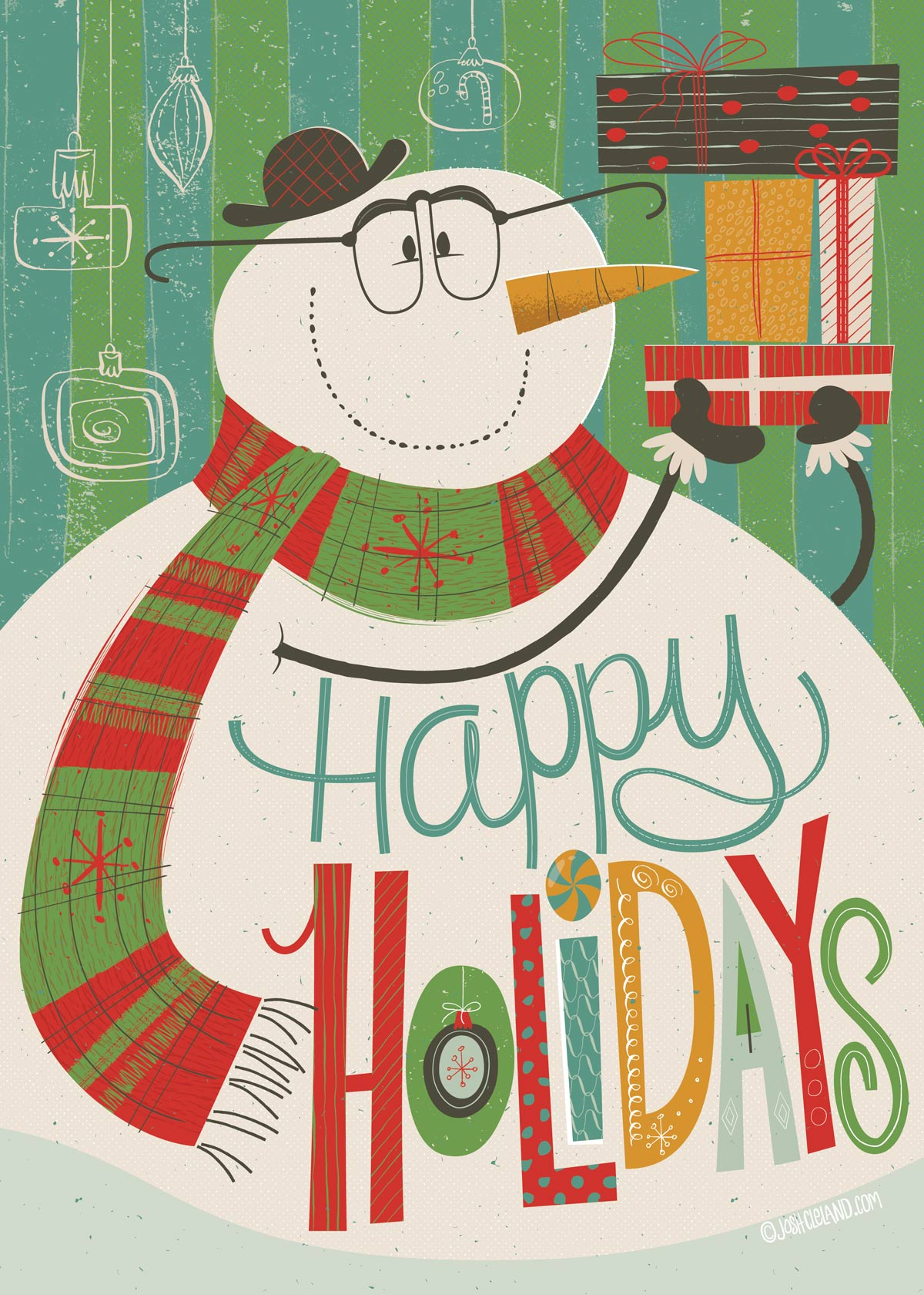Christmas snowman holiday card by Josh Cleland