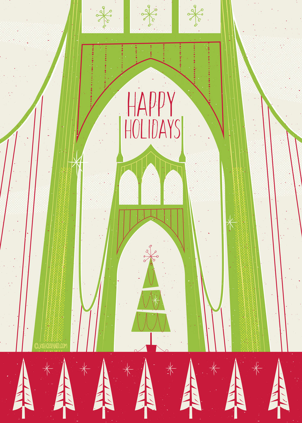 St John's Bridge Greeting Card by Josh Cleland