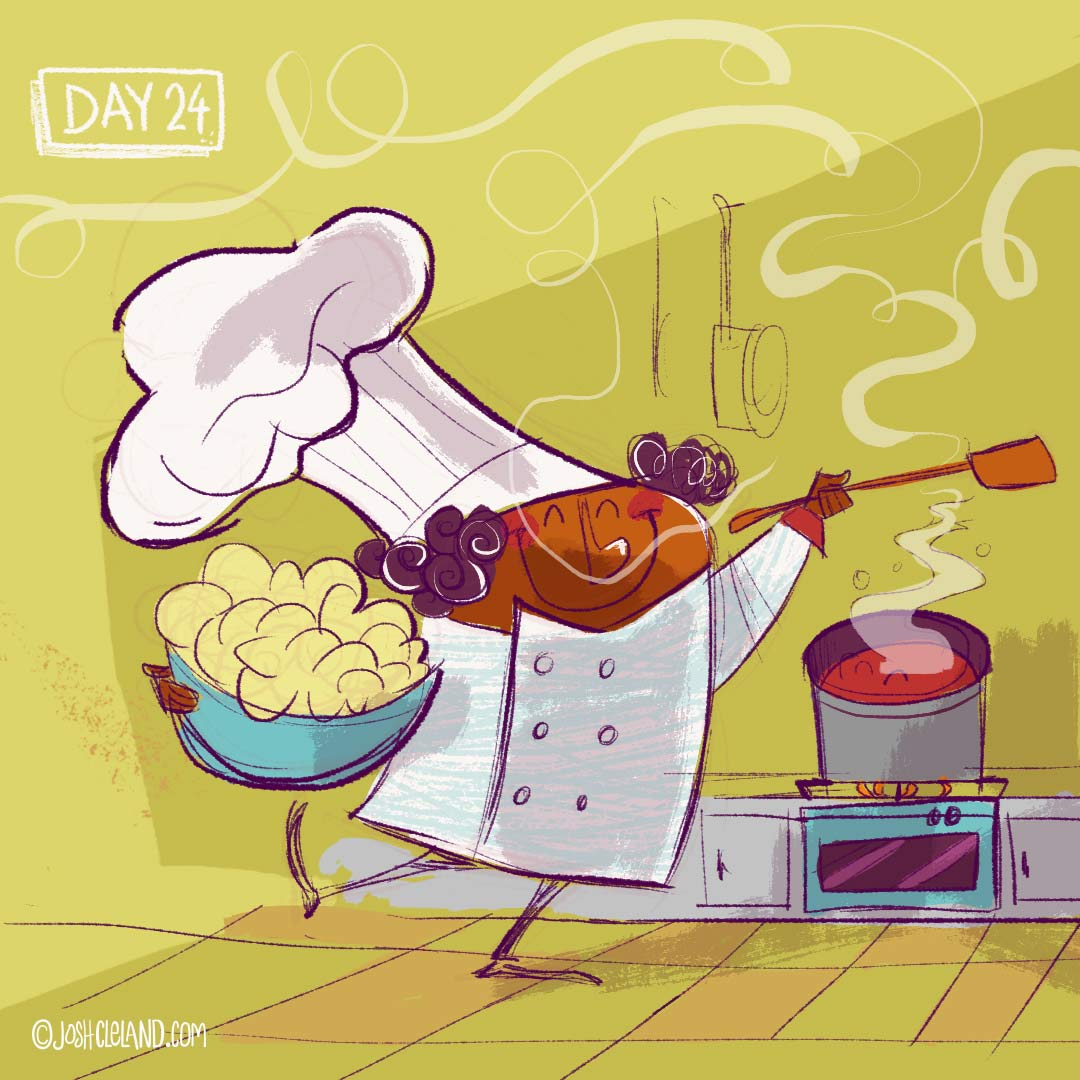 Land of Cle week 4 chef illustration by Josh Cleland