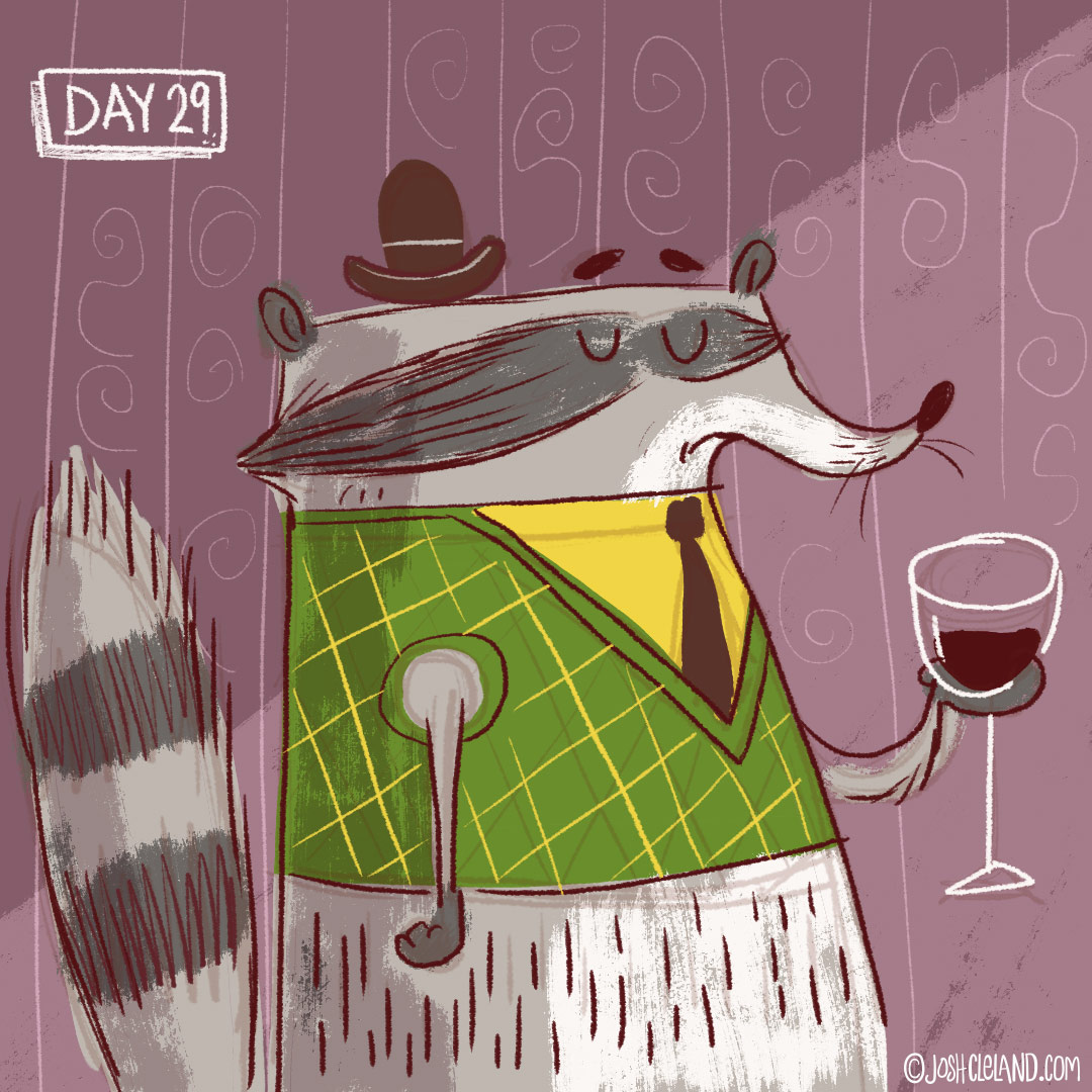 Land of Cle week 5 raccoon illustration by Josh Cleland