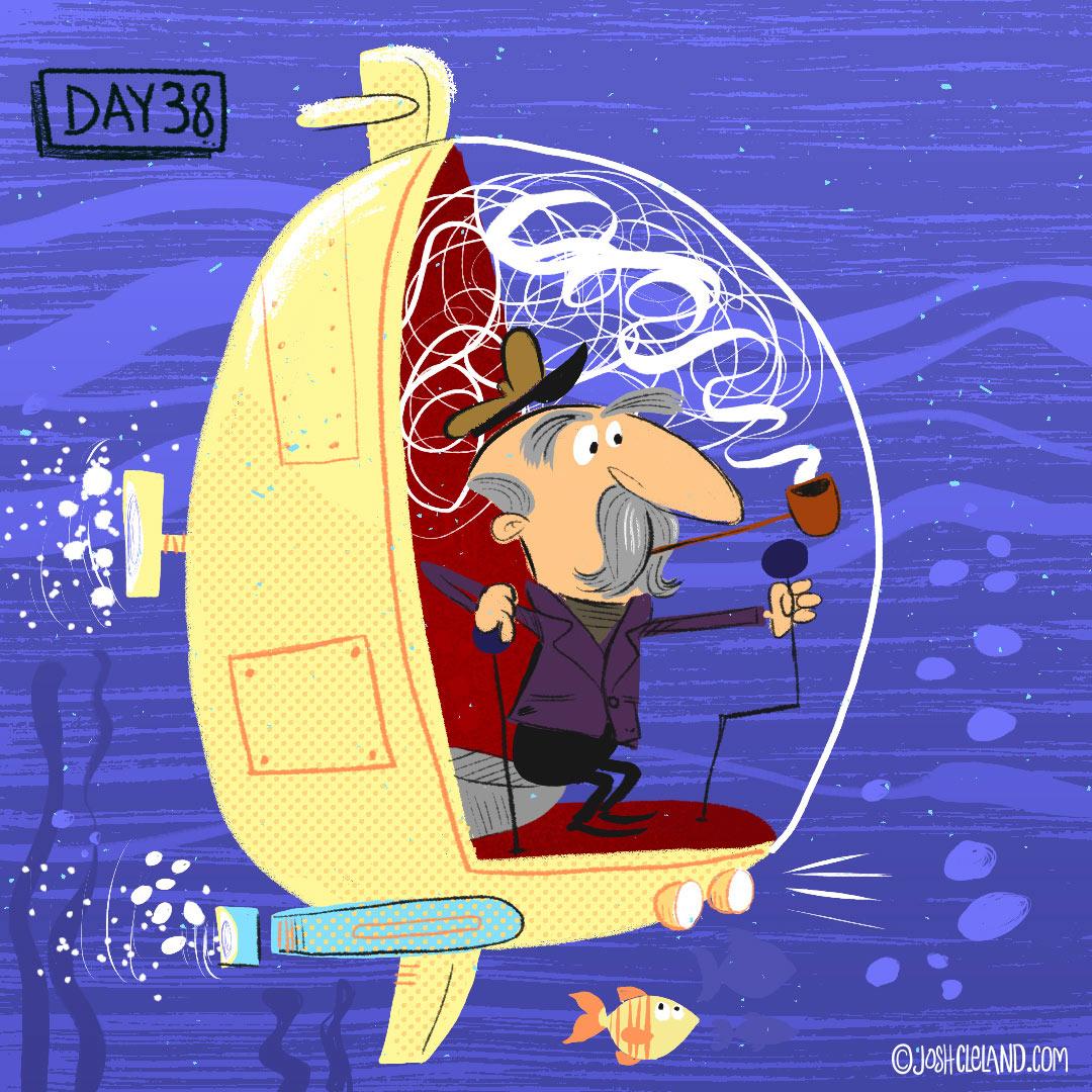 Land of Cle submarine illustration by illustrator Josh Cleland
