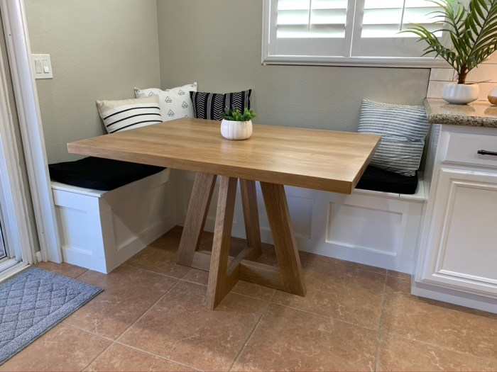 View of new white oak table