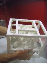 """3d printed model """"Permutation Prime"""" being removed from printer"""