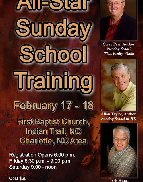 Allan Taylor, Steve Parr, Josh Hunt, David Francis and Elmer Towns to join forces in All Star Sunday School Training